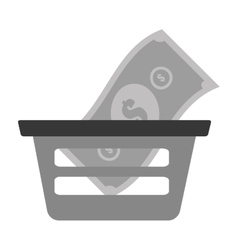 basket shopping bill money online vector image
