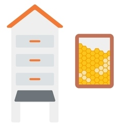 Beehive and honeycomb vector image