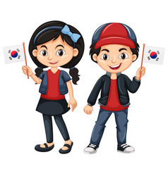 Children holding flag of south korea vector