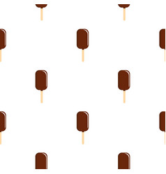 Chocolate ice cream on wooden stick pattern vector