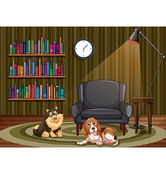 Dogs and living room vector