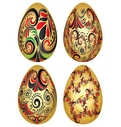 easter eggs with folk patterns vector image