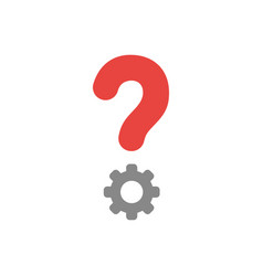 flat design concept of question mark with gear vector image