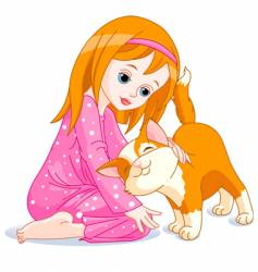 Girl and cat vector