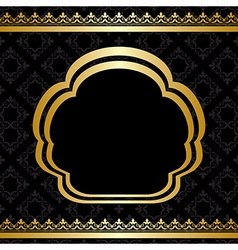Golden ornament on black background vector