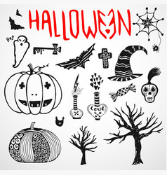 Halloween doodle sketches hand drawn holiday icon vector