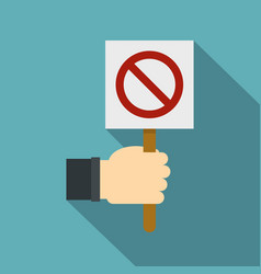 Hand holding stop sign icon flat style vector