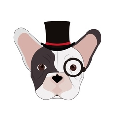 Hipster french bulldog icon vector