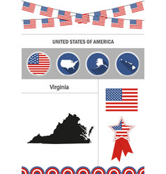 map of virginia set of flat design icons vector image vector image