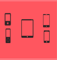 Mobile phones and tablets on a red background vector