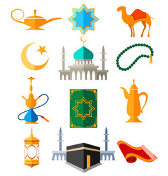 muslim arabic colorful icons vector image