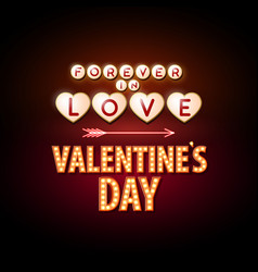 Neon sign happy valentines day typography vector