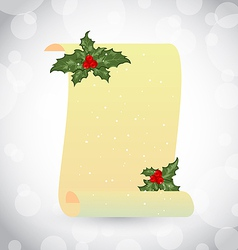 Paper scroll with christmas holly vector