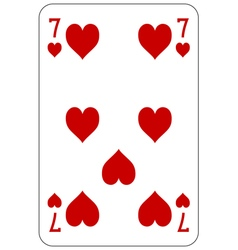 Poker playing card 7 heart vector image vector image