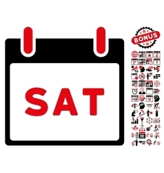 Saturday calendar page flat icon with bonus vector