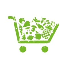 Shopping cart fruit vector image