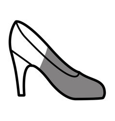 Silhouette shading drawing of high heel shoe vector