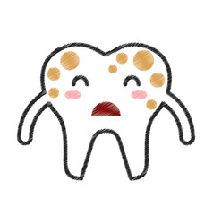 Tooth with spots character icon vector