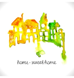 Watercolor beautiful homes vector image vector image