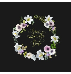 Lily and Anemone Flowers Card Wedding Invitation vector image