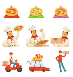 Pizza delievery fast service process info vector