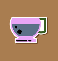 paper sticker on stylish background coffee cup vector image