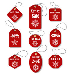 red christmas holidays tags vector image