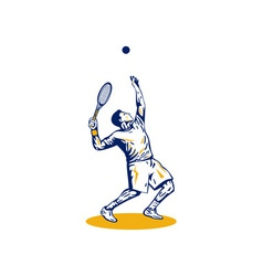 Tennis player serving vector