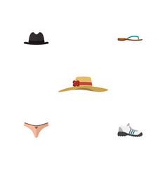 Flat icon dress set of beach sandal sneakers vector