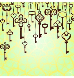 Hanging keys background vector image