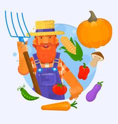 A farmer holding a garden fork vector