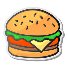Burger sticker isolated background vector