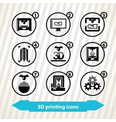 3d printing icons vector