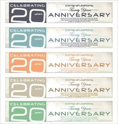 20 years Anniversary retro banner set vector image