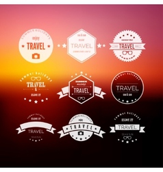Set of travel signs on abstract blurred vector