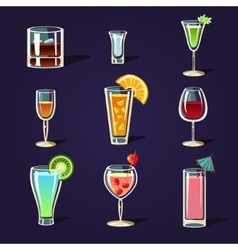Alcohol coctails and other drinks vector