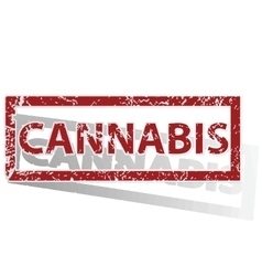 Cannabis outlined stamp vector