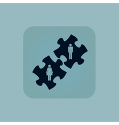 Pale blue people puzzle icon vector