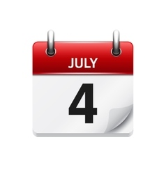July 4 flat daily calendar icon date and vector