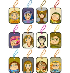 Girl Face Label Set vector image