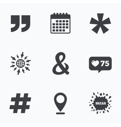 Quote asterisk footnote icons hashtag symbol vector