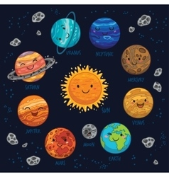 Planets colorful set on dark background vector