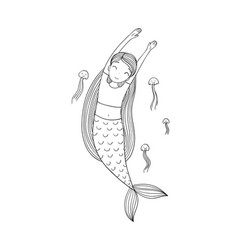 beautiful little mermaid and jellyfish siren sea vector image