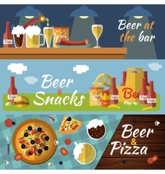 Beer Flat Banner Set vector image