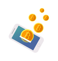 bitcoin flies out of the phone vector image
