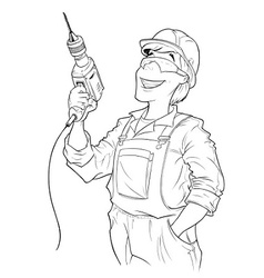 builder with drill vector image
