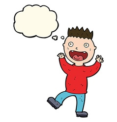 Cartoon crazy happy man with thought bubble vector