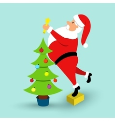 Cartoon santa claus and green christmas tree vector