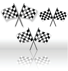 checkered flags crossed vector image