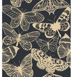 dark background with butterflies vector image vector image